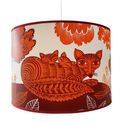 Lush designs large lampshade with print of fox and sleeping cubs in orange and plum colour