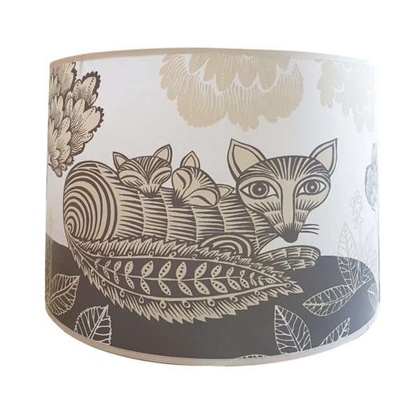 Large Fox and Cubs Lampshade - Grey and Cream