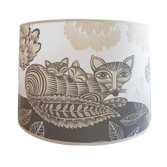Lush designs lamp shade inwith print of fox and sleeping cubs in light grey and cream
