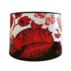 Lush designs large lampshade with print of fox and sleeping cubs in red and black