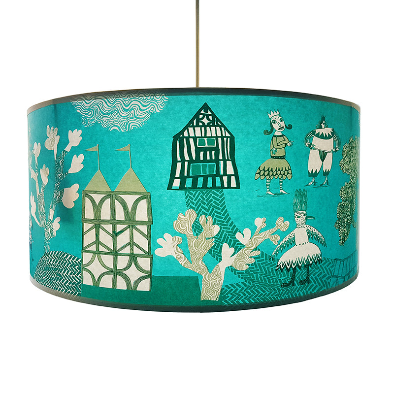 Lush Designs wide and short lampshade in turquoise printed with tudor themed scene including clowns and trees