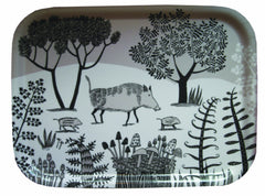 Lush Designs small size tray with Wild Boar print in black and beige on white