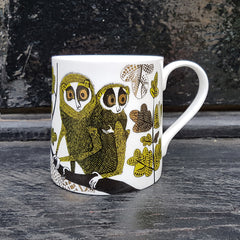 Loris print mug in chartreuse green, black and gold