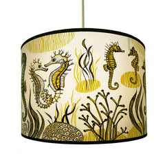 Seahorse print lampshade in yellow and black