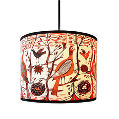 Lush Designs Orange and black bird-print lampshade