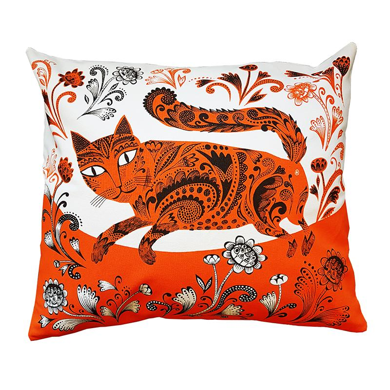 Bright orange, white and black cushion with fancy-patterned cat and floral features