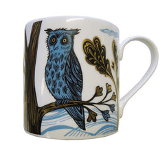 Lush Designs bone china mug with blue, black and gold lustre print of owl