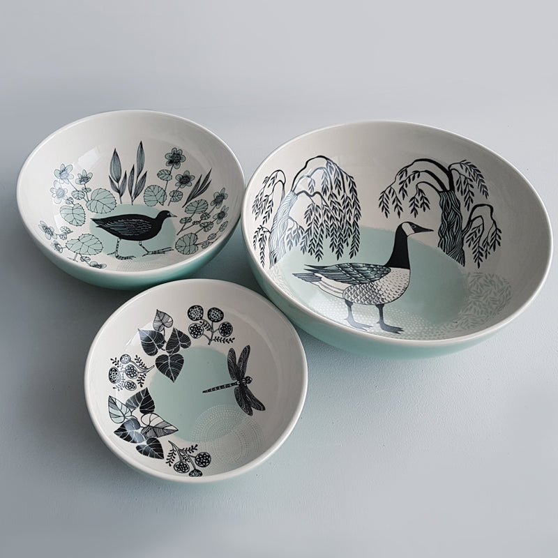 Lush Designs set of three bowls with water-bird theme print in duck egg blue and black