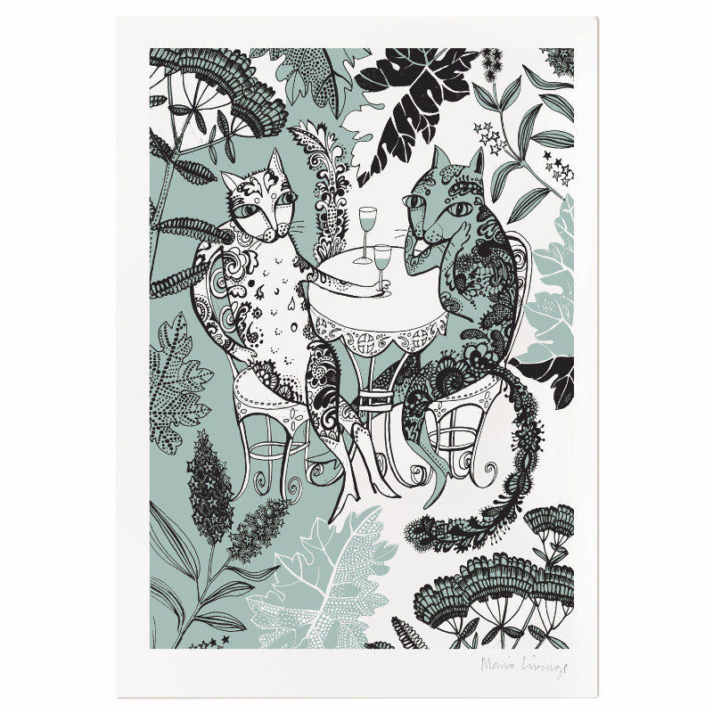Print on heavy textured paper of two cats in the garden drinking wine