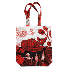 Lush Designs tote bag with graphic illustrative fox and cubs print in red and black