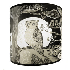 Lush Designs Regular sized owl print lamp shade in black and cream