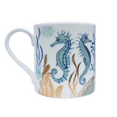Lush Designs seahorse-print mug with gold detail