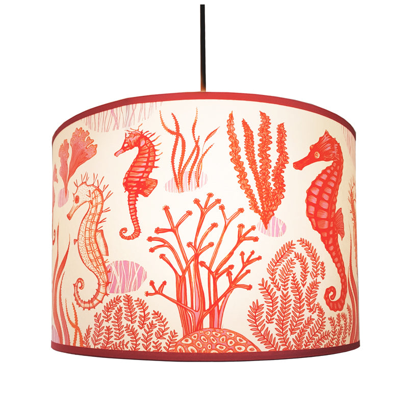 Seahorse print lampshade in orange, pink and coral