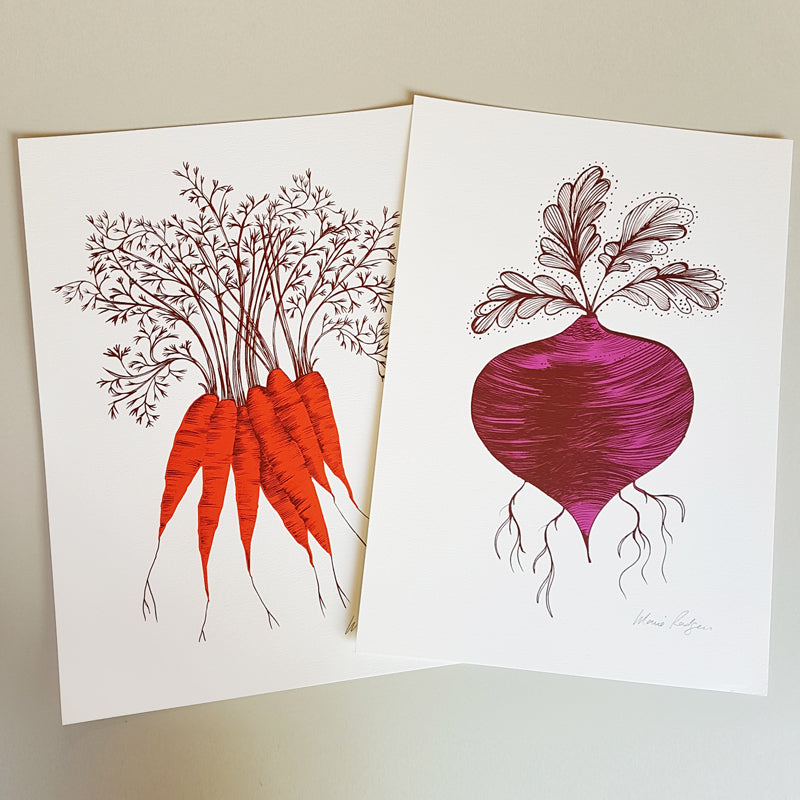 Lush Designs carrot print and beetroot print on heavy textured paper