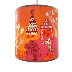 Lush Designs lampshade with hot orange and pink print of fancy-dress characters in a tudor pleasure garden