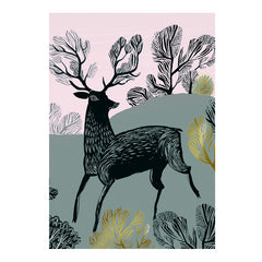 Lush Designs greetings card with stag print and gold embellishment