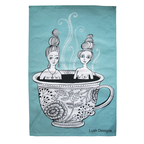 Tea Cup Ladies Tea Towel - Blue