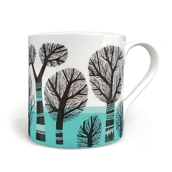 Winter Trees mug, turquoise