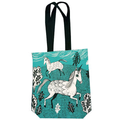 Lush Designs Unicorn tote bag in turquoise with black print and black shoulder strap