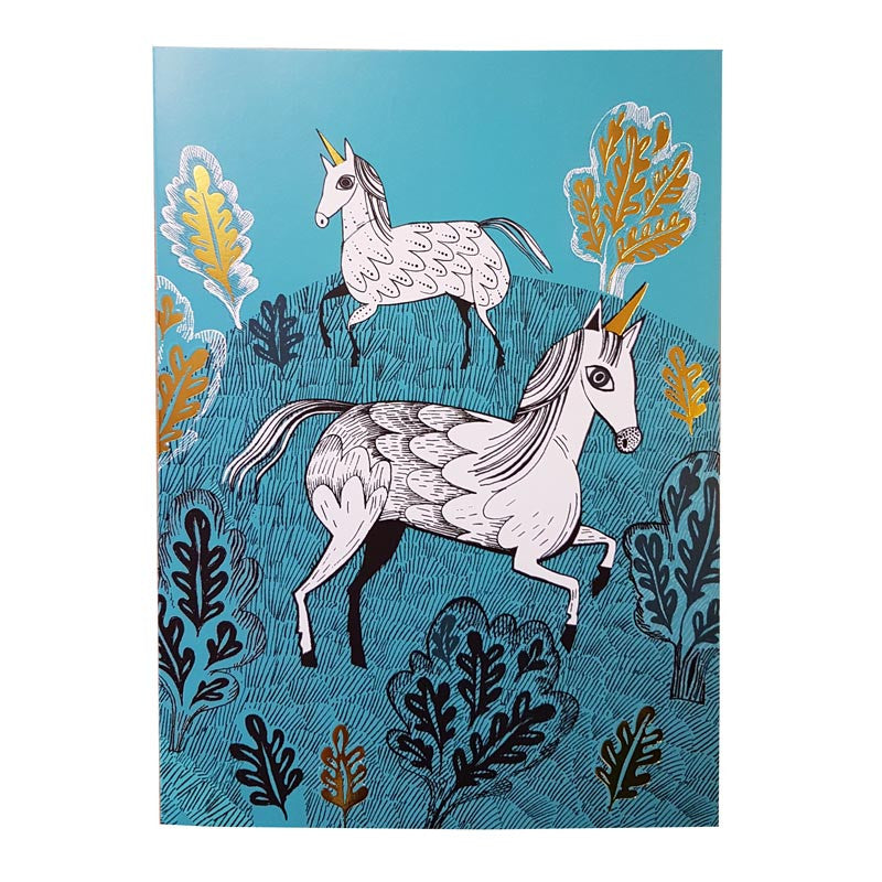 Lush Designs unicorn greetings card in turquoise with gold embellishment