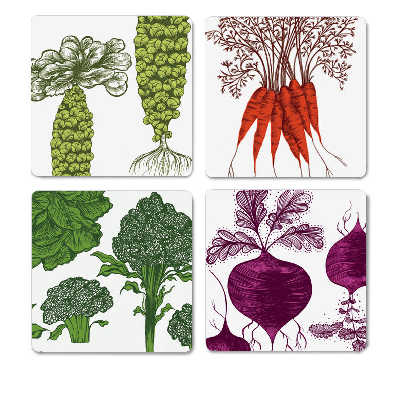 Lush designs vegetable print coasters