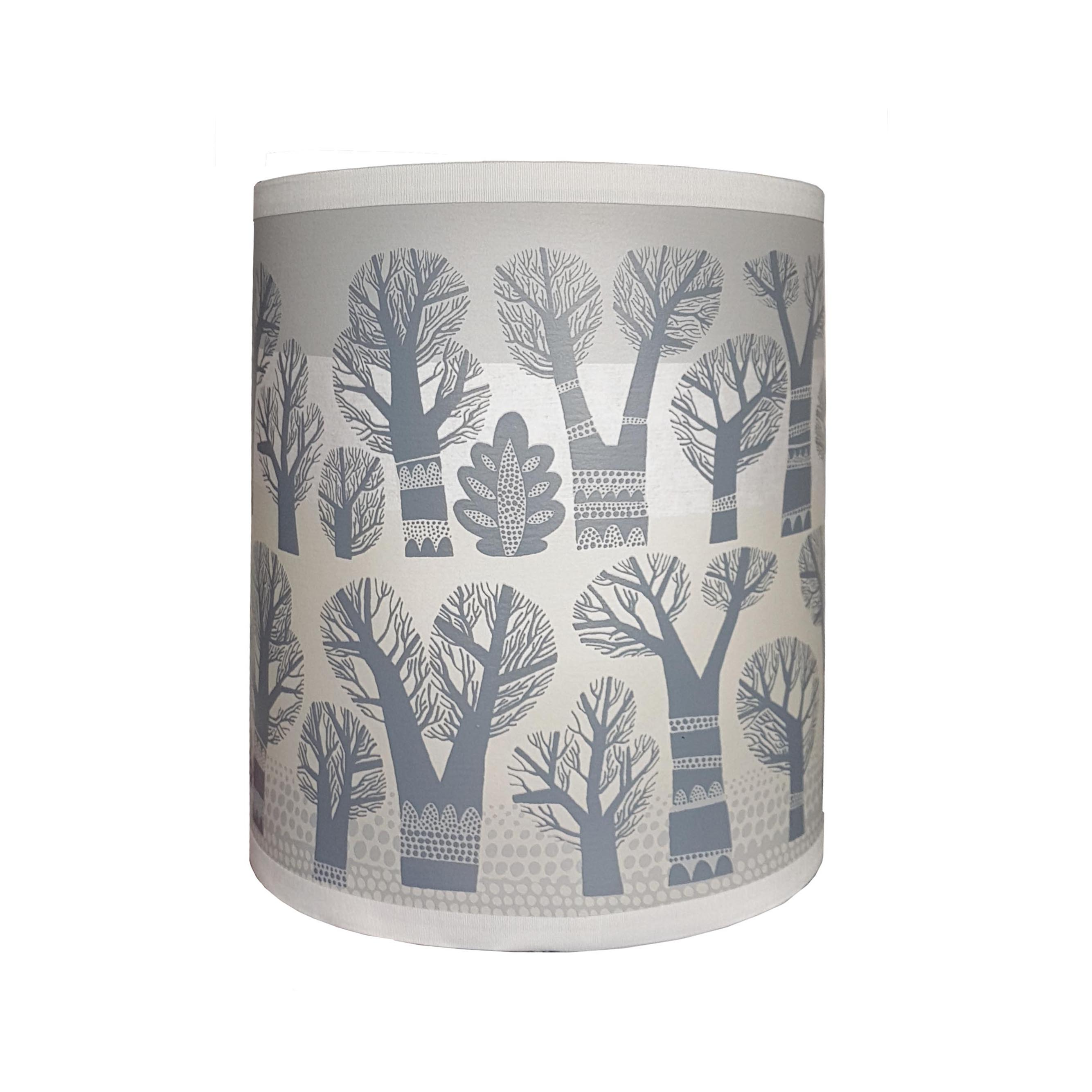 Lush Designs large lampshade printed with rows of winter trees in pale grey