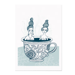 Art print on heavy paper of two naked ladies bathing in a tea cup