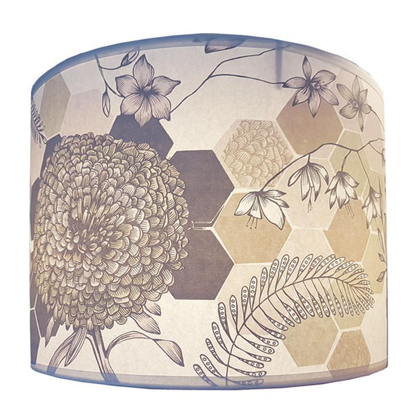 Flowers and Tiles Lampshade, soft colours.