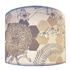 Lush designs lampshade printed with floral design in soft, neutral colours