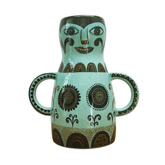 Jade green lady-shaped vase with funny face and circles for breasts