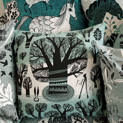 Lush designs cushions with illustrative prints in shades of teal