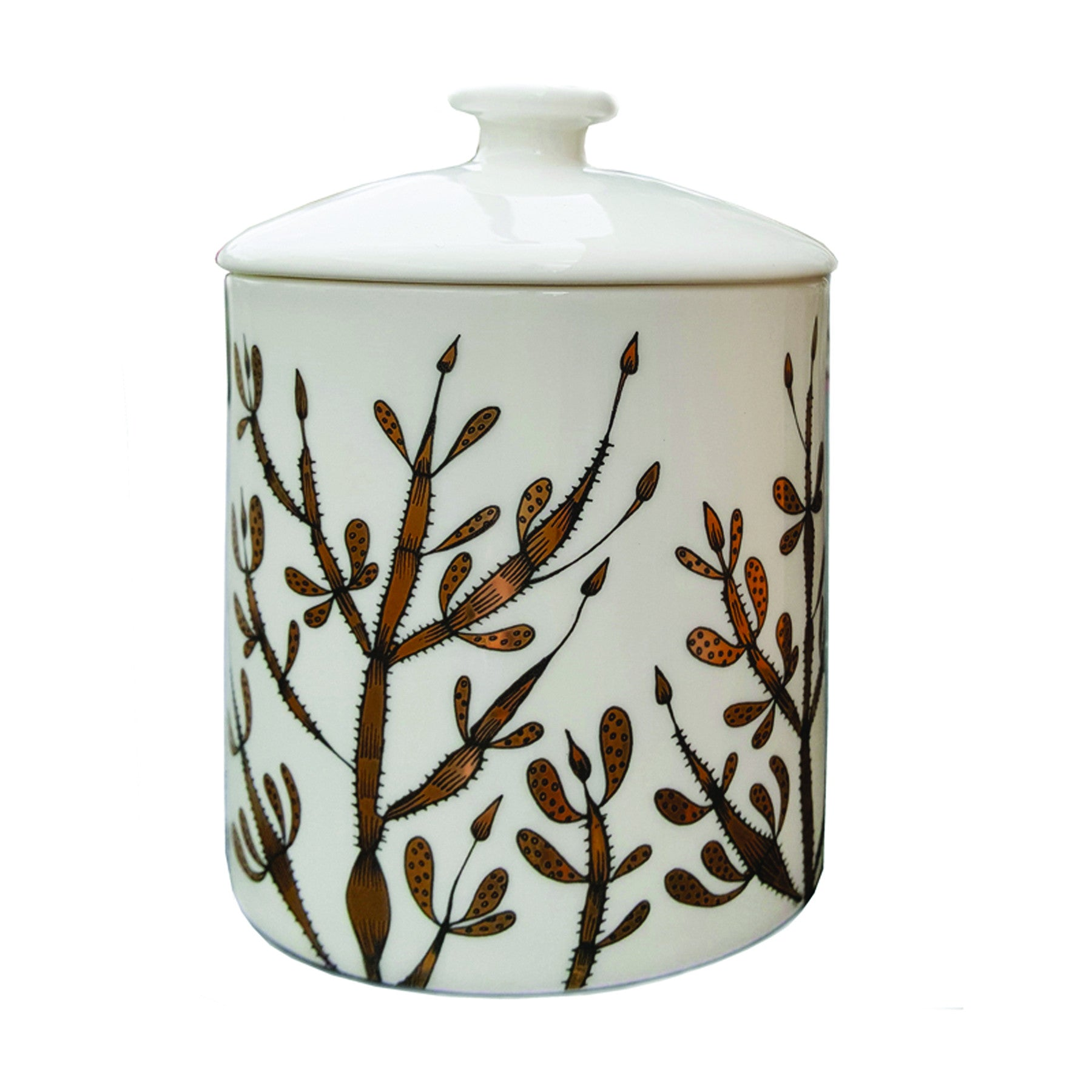 Bone china candle pot with print of seaweed in black and gold