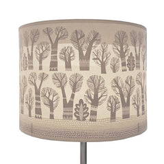 Lush Designs lampshade with a pattern of pale grey trees