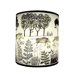 Lush Designs Lampshade with a print of wild boars in the countryside