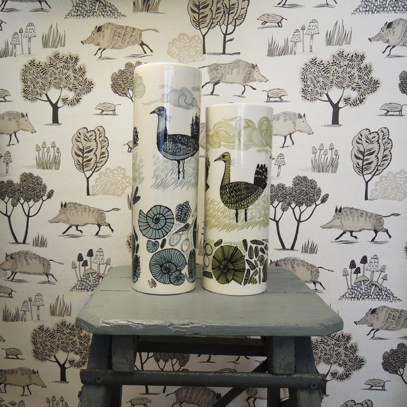 Lush Designs wild Boar print wallpaper with two vases with Wild Bustard print in green and blue