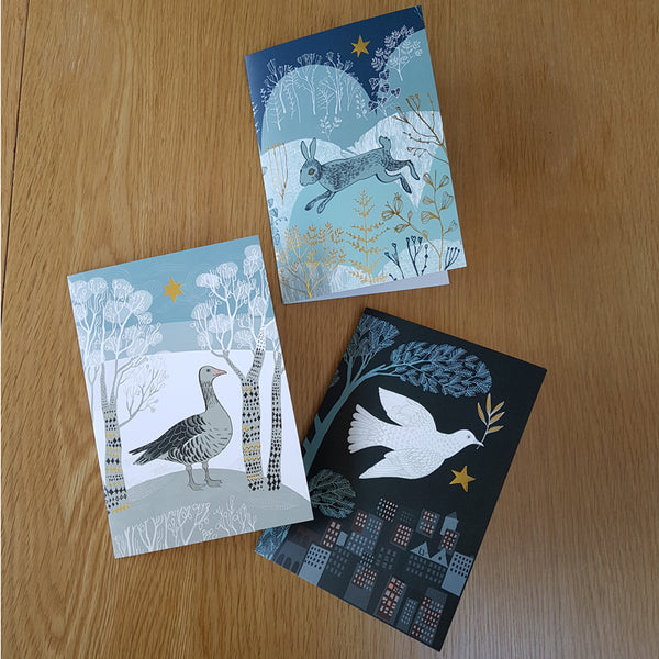 Six Christmas Cards, three different designs