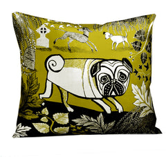 Lush designs green dog cushion featuring pug, bedlington terrier and spotty mongrel