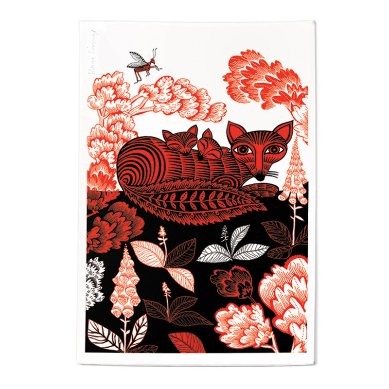 Lush Designs print of fox and cubs in red and black on heavy, textured paper