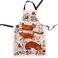 cotton apron with print of kittens in orange and black