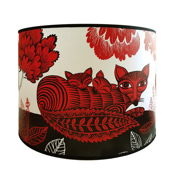 Large Fox and Cubs Lampshade - Red