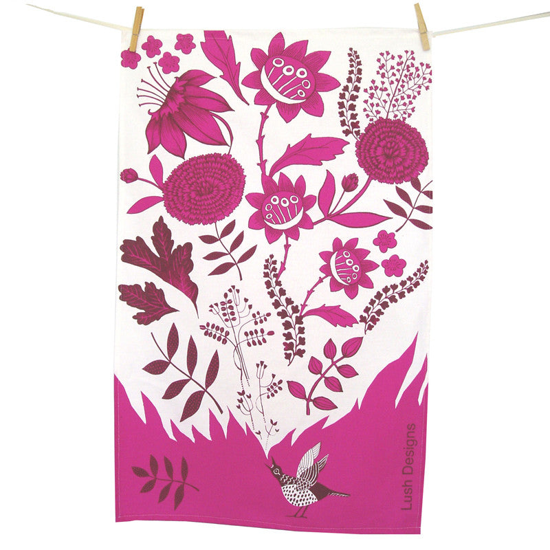 Lush Designs flowery tea towel with little singing bird in shades of bright pink