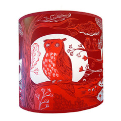 Lush Designs Owl print lamp shade in two shades of red