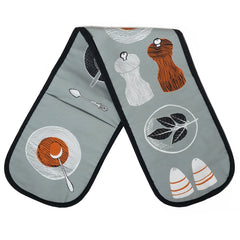 Lush Designs oven gloves with grey, orange and black print of pepper salt and spices