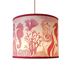 small seahorse print lampshade in pink and red