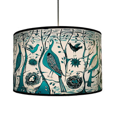 Lush Designs lampshade illustrated with birds in turquoise and black