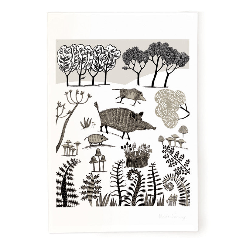 Lush Designs wild boar print on heavy, textured paper