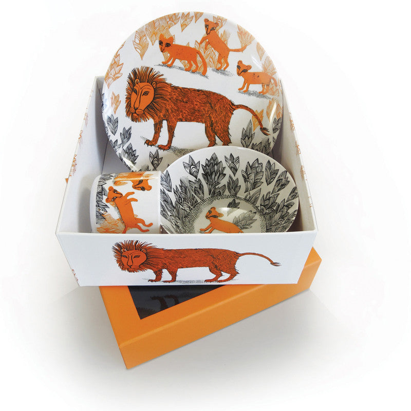 Meamine lion design bowl, plate and cup for children, comes in a lovely box