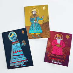 Three Christmas cards depicting the three wise men
