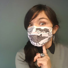 Lush Designs wild boar print face mask worn by Maria Livings