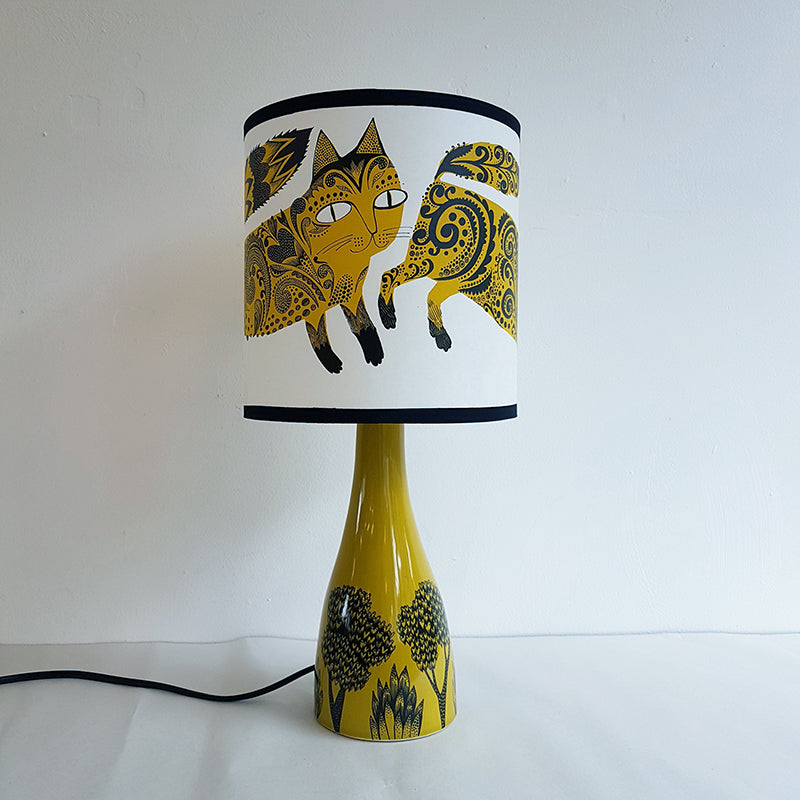 Lush Designs ceramic lamp base with kitten print shade in mustard and black
